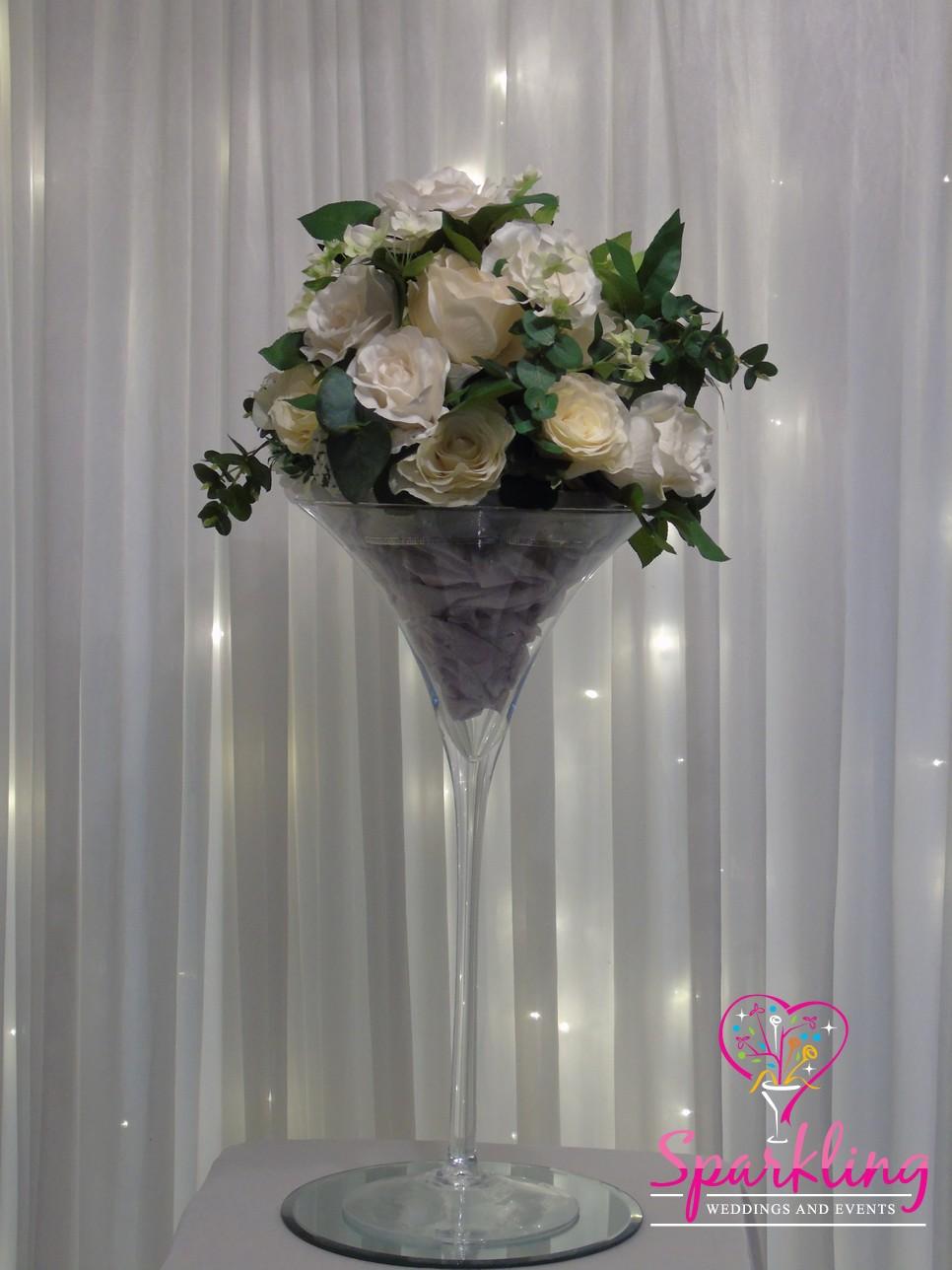 Table centrepieces martini vase with white floral arrangement floridaeventfo Images